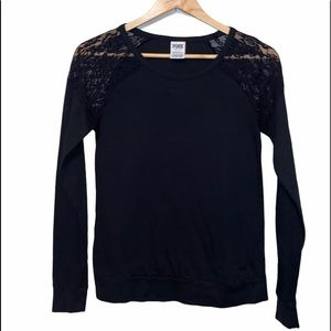 Victoria's Secret Long Sleeve Lace Black Top XS